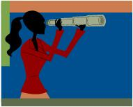 Cartoon of Woman with Telescope
