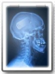 giffgaff web site image - skull with mobile phone on the brain