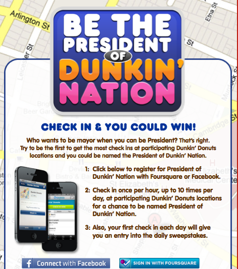 Dunkin' Donuts Promotion Uses Facebook, Foursquare, Facebook Places