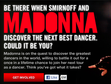 Smirnoff Facebook Promotion With Madonna