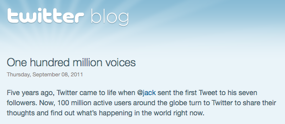 Twitter Announces 100 Million Active Users via Twitter Blog