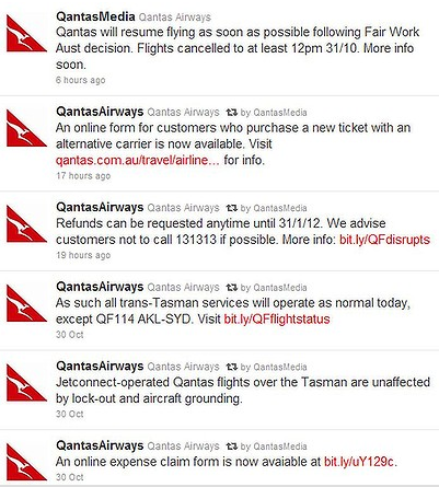 Qantas Social Media Response via Reuters