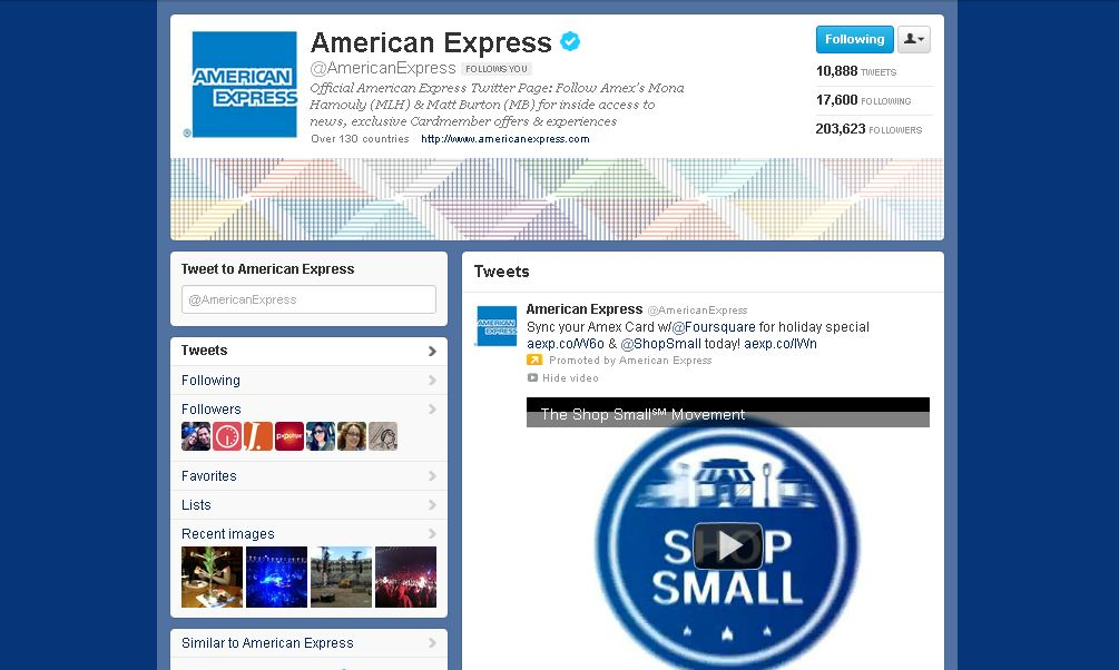 Twitter Brand Page for  American Express