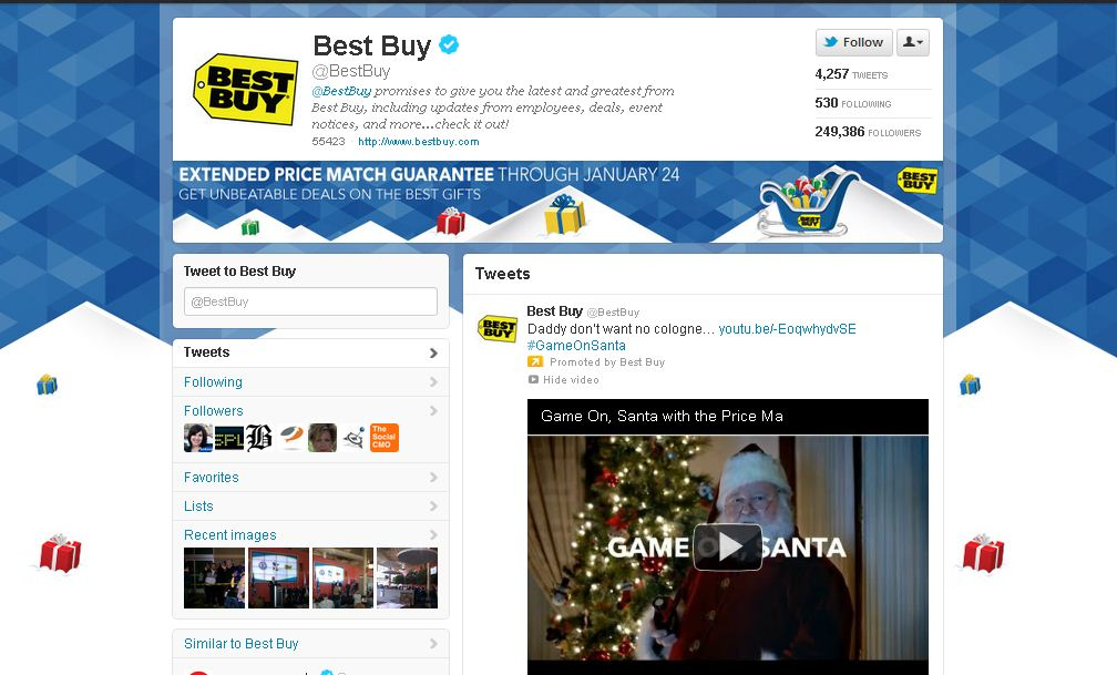 Twitter Brand Page for Best Buy