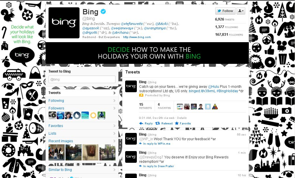 Twitter Brand Page for Bing
