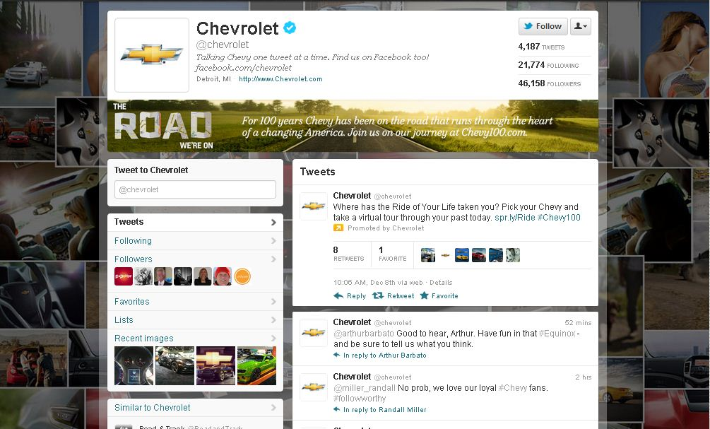 Twitter Brand Page for Chevrolet