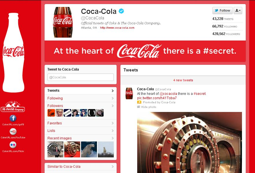 Twitter Brand Page for Coca-Cola