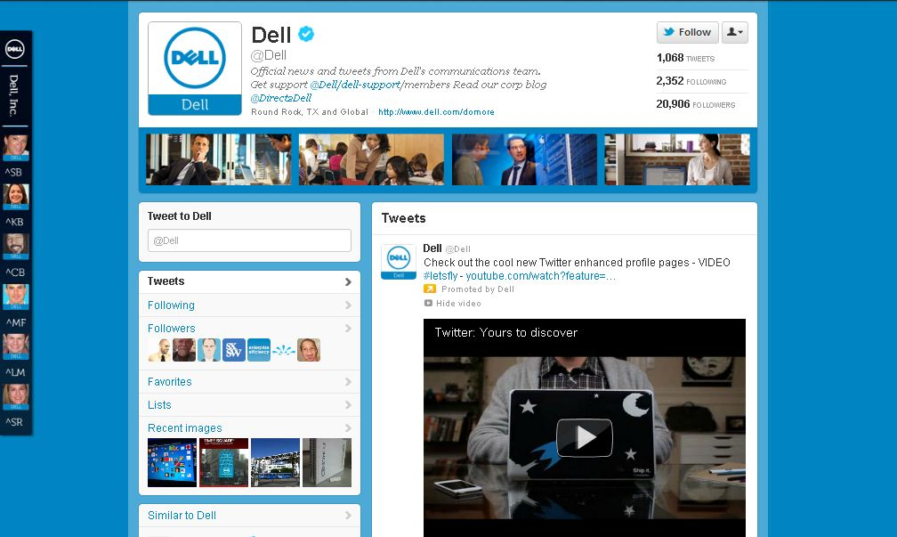 Twitter Page for Dell