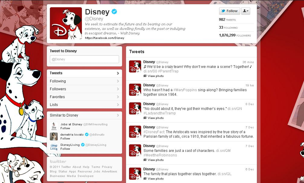 Twitter Page for Disney