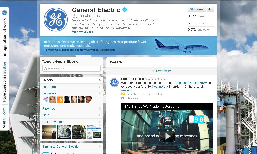 Twitter Page for General Electric