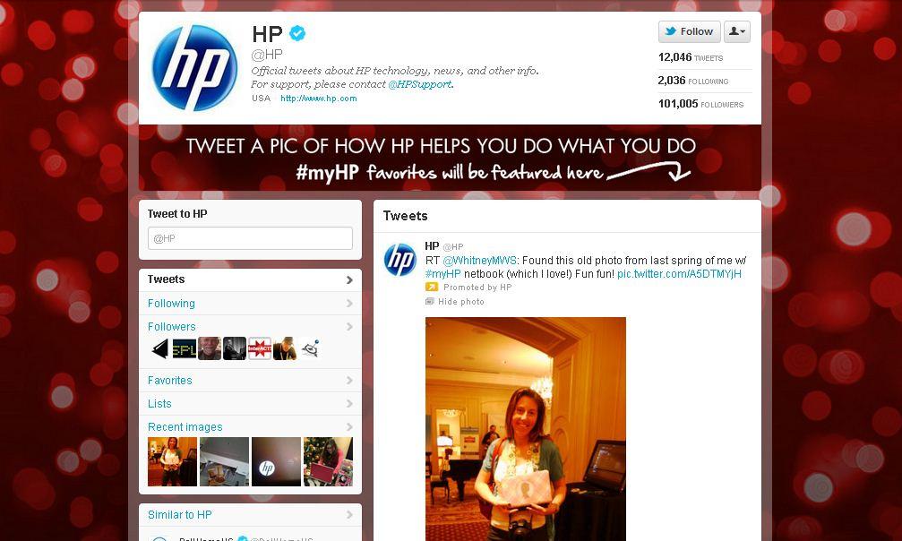 Twitter Page Hewlett-Packard