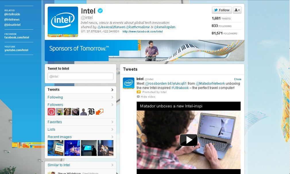 Twitter Page for Intel