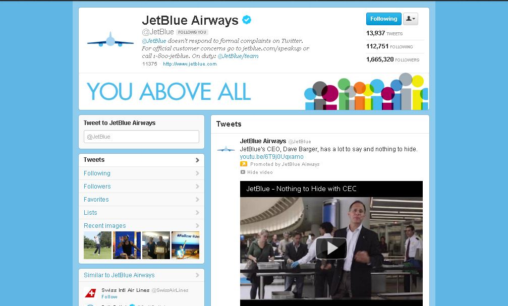 Twitter Brand Page for JetBlue