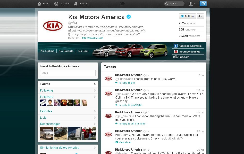 Twitter Brand Page for Kia