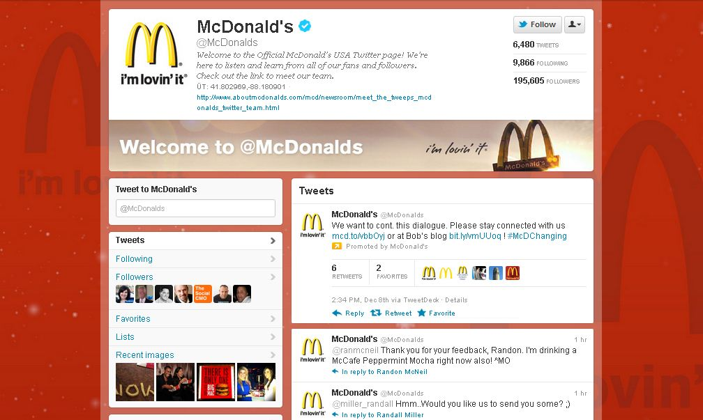 Twitter Brand Page for McDonald's