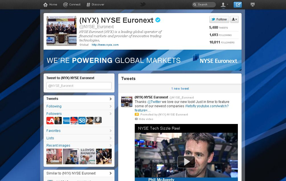 Twitter Brand Page for NYSE Euronext