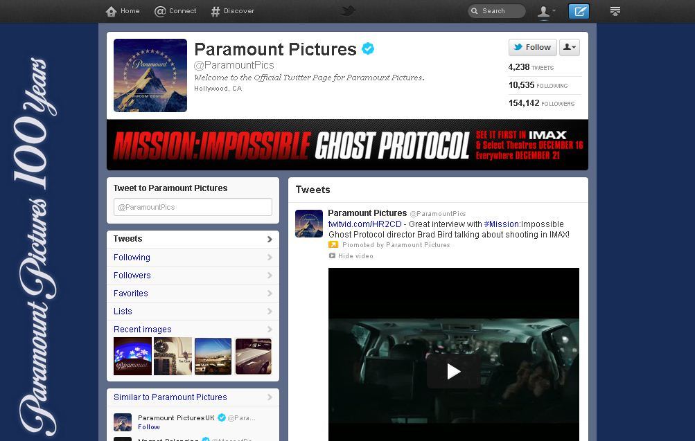 Twitter Brand Page for Paramount Pictures