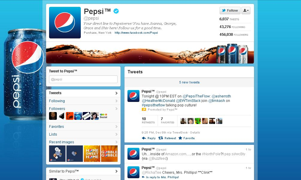 Twitter Brand Page for PepsiCo