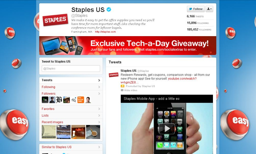 Twitter Brand Page for Staples
