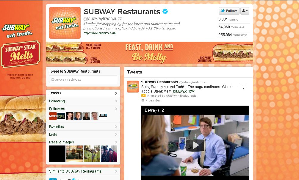 Twitter Brand Page for Subway