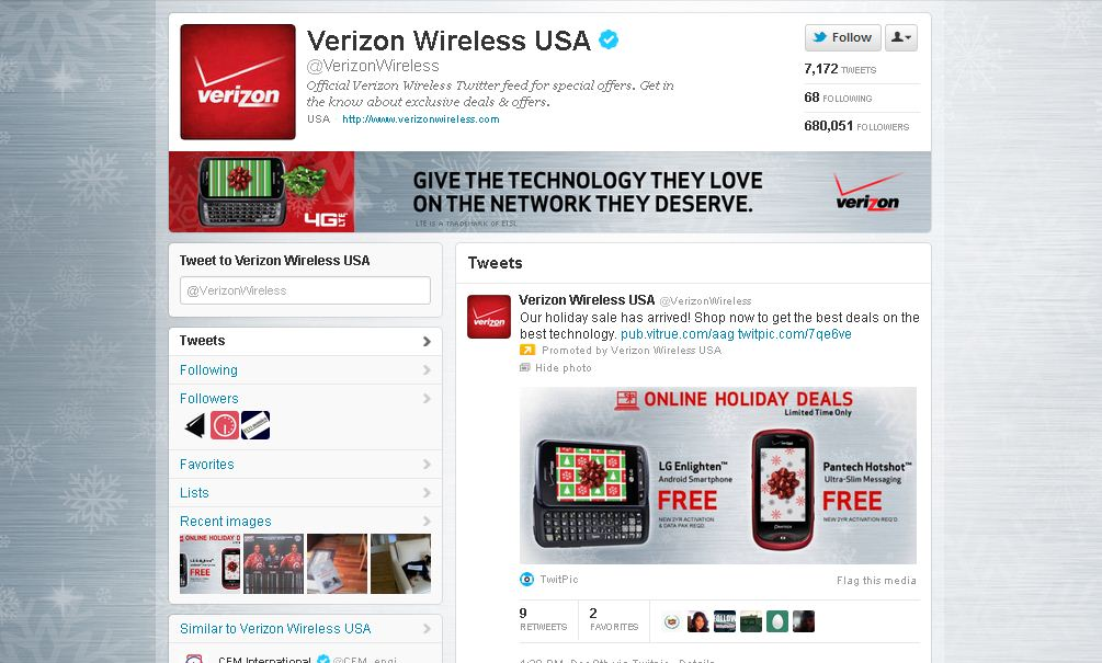 Twitter Brand Page for Verizon Wireless