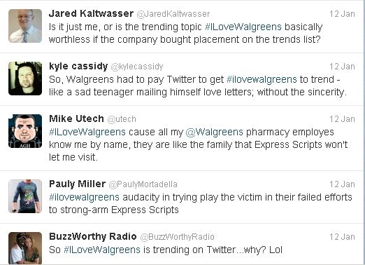 #IloveWalgreens tweets: even with Promoted Products, Twitter can be rough terrain for marketers