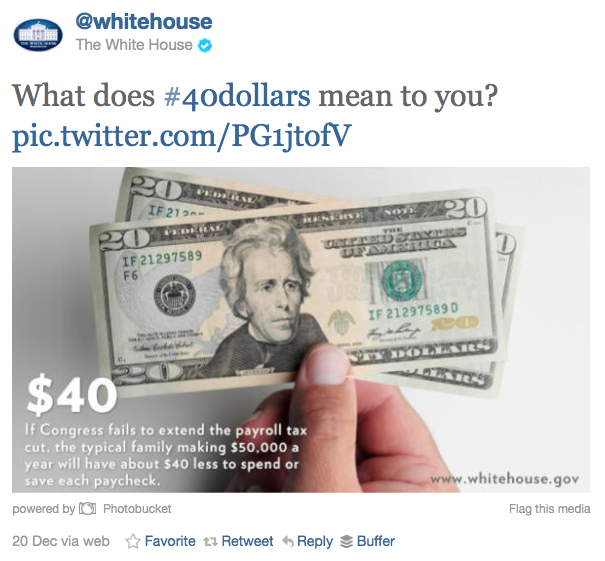 The White House Uses #40dollars Twitter Campaign