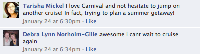 Carnival hears from loyal social media fans