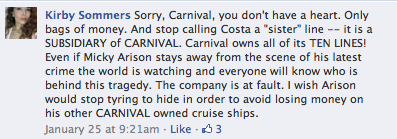 Carnival hears from angry fans via social media