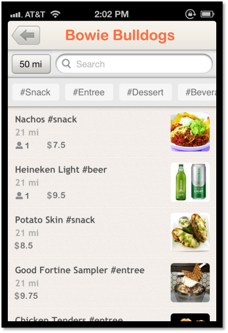 New Taap.it feature: ordering concessions directly from your smartphone