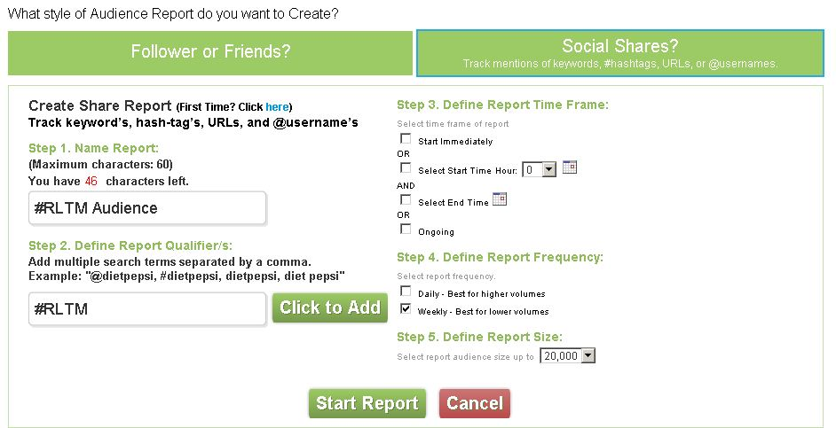 PeekAnalytics Social Audience analytics can be run across Twitter accounts or hashtags / keyword searches
