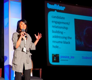 Twitter and Recruiting session with Jessica Lee of APCO Worldwide on stage at TWTRCON DC 09
