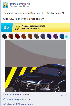 Lexus Integrates Ads WIth Mobile Game Draw Something: Doodle of the Day