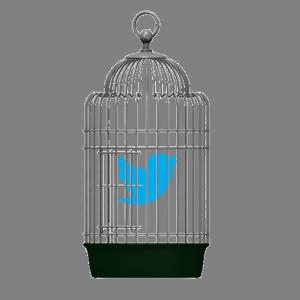 Twitter bird in a bird cage
