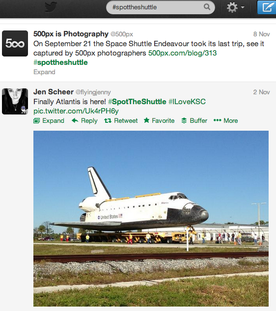 Twitter Search results for #spottheshuttle