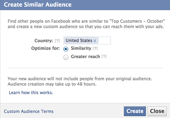 Facebook lookalike audience tool