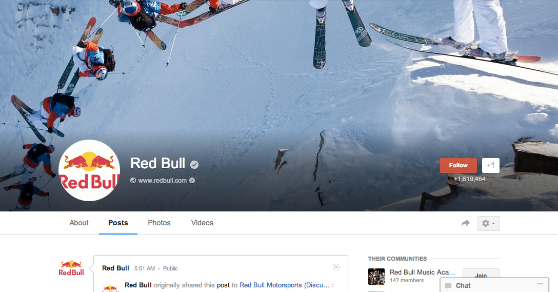 Red Bull shows updated Google+ cover photo