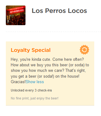 Foursquare Loyalty Special