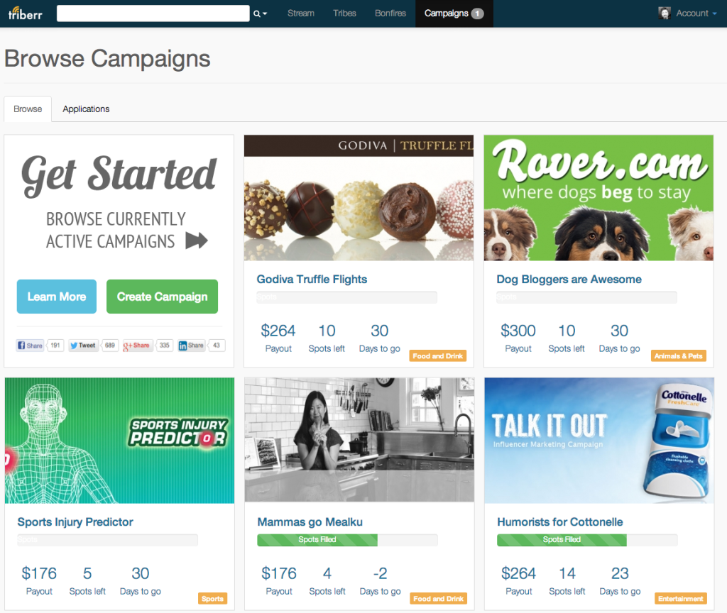 Triberr influencer marketing campaigns page