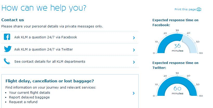 KLM Social Media response time