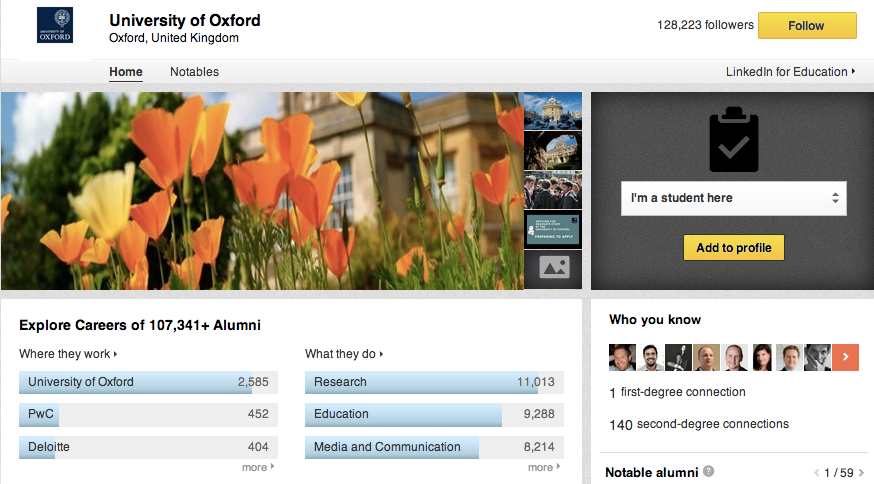 Oxford University Page on LinkedIn