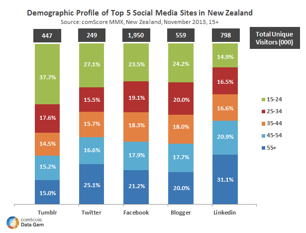 Top Social Media Sites in New Zealand [comScore]