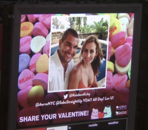 Valentine's messages on Times Square billboard