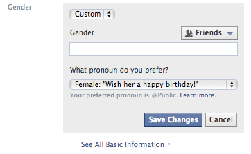 Facebook Gender Custom Options