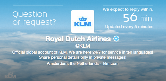 KLM Twitter Updates Customer Service Response Time