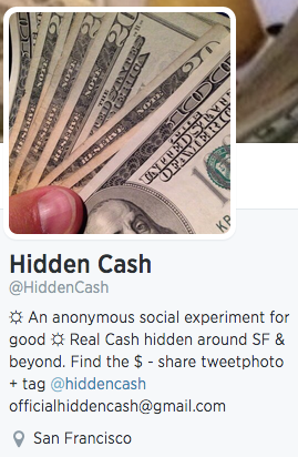 Hidden Cash twitter account