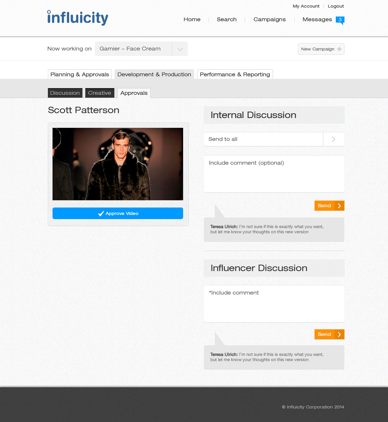 Influicity's video approval page, where marketers can see their influencer's video and discuss with their team.
