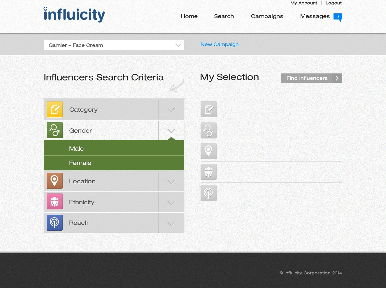 Influicity's search page, where clients can select their influencer search filters from the menus on the left. Selections appear on the right.